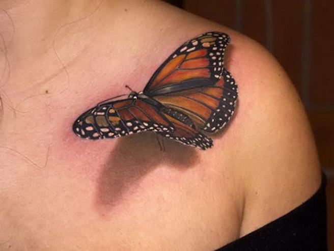 papillon posé sur l'épaule