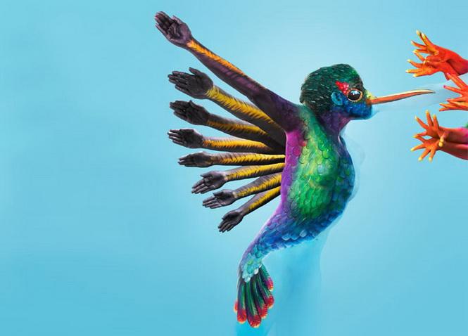 body-painting colibri