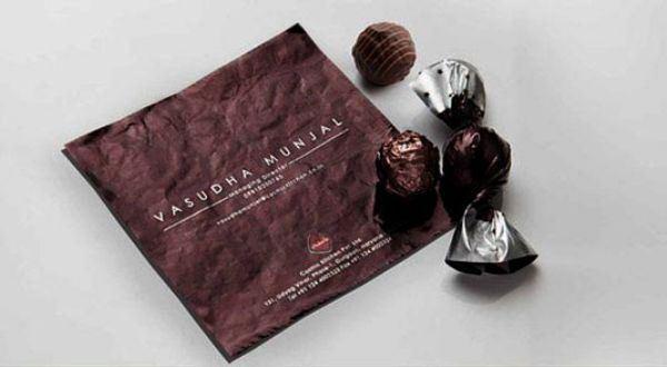 carte de visite papier de chocolat
