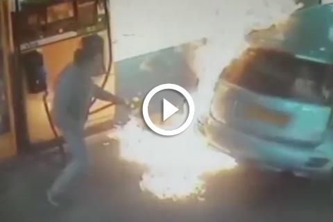 Une femme met le feu volontairement dans une station d'essence