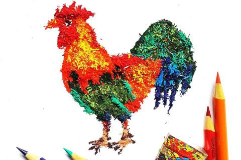 épluchures de crayons de couleurs