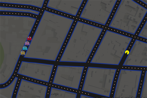 pac-man sur google maps