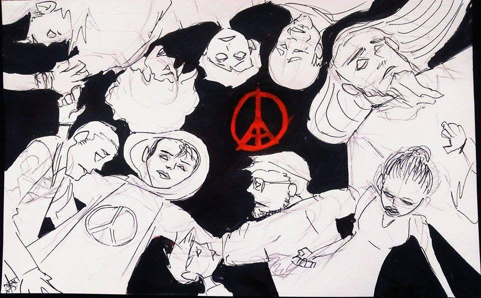dessin hommage aux victimes attentat 13 nov 2015 paris - 05